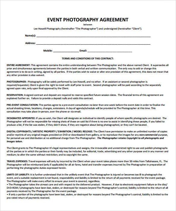 Event Photography Contract Template Gallery Template