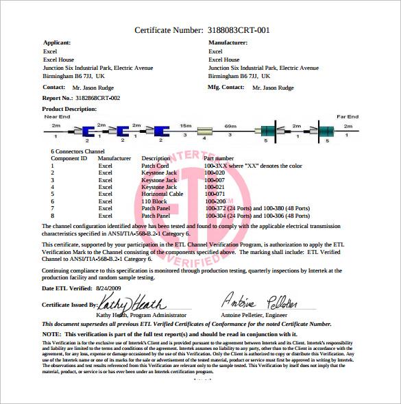 Conformity Certificate Template Conformity Certificate Template - certificate of compliance template