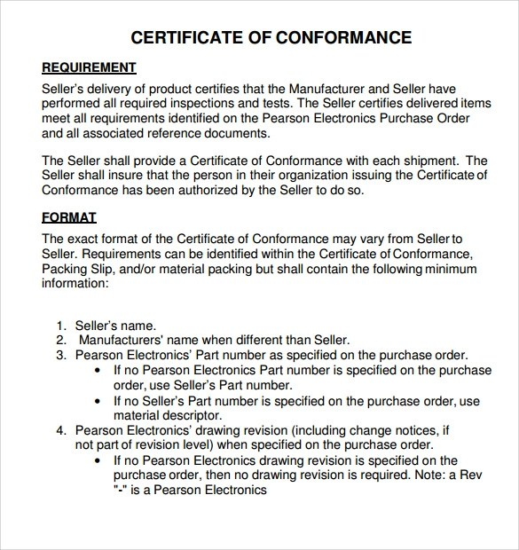 Certificate Of Conformance Template Doc  Cover Letter Examples