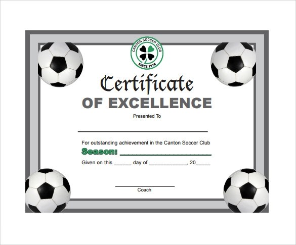 soccer certificate template - Teacheng - football certificate template