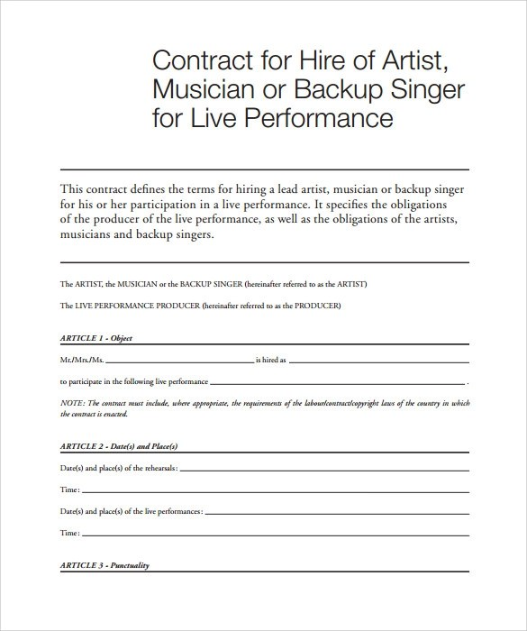 Sample Music Contract Template - 12+ Free Documents in PDF, Word - sample artist contract template