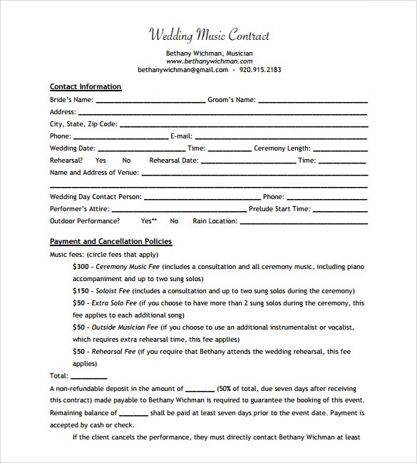 Wedding Contract Template  ResumeTemplatePaasproviderCom