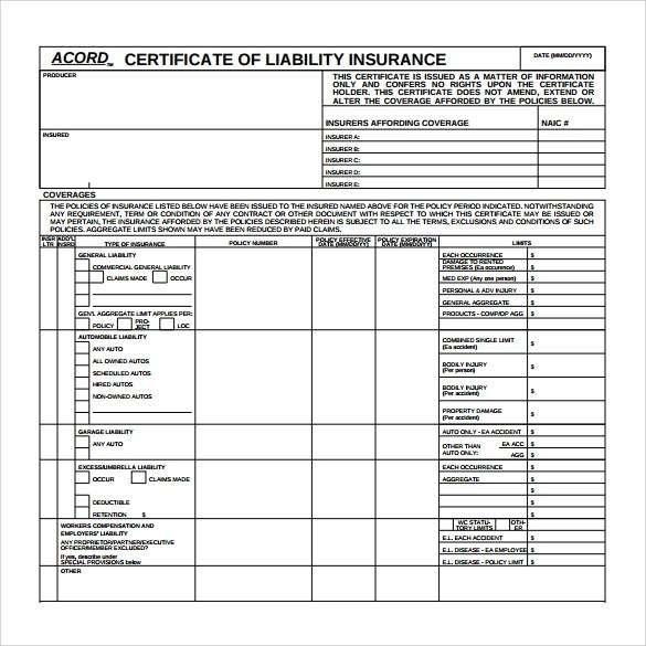 15 Certificate of Insurance Templates to Download Sample Templates - Certification Document Template
