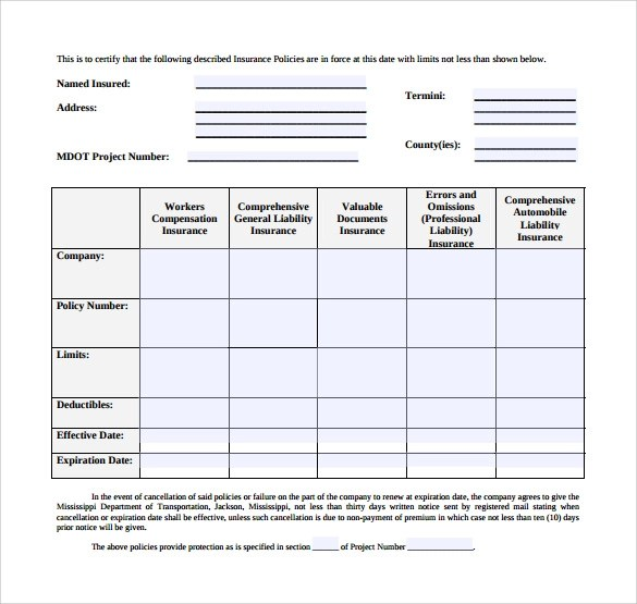 insurance template - Wwwtakethemic - certificate of insurance template