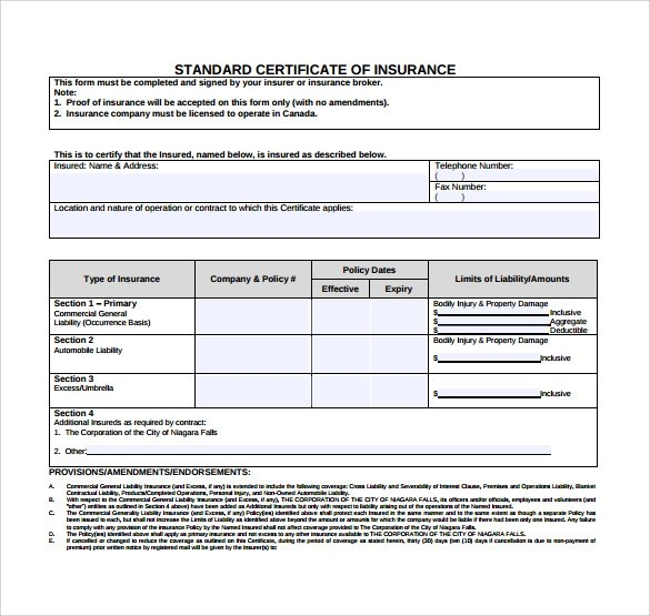 certificate of insurance template - Josemulinohouse - certificate of insurance template