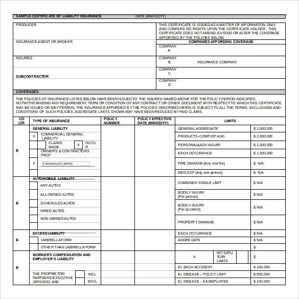 certificate of insurance template - Teacheng - certificate of insurance template