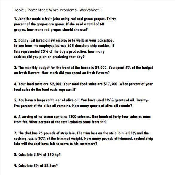 14 Sample Percents Worksheets to Download Sample Templates