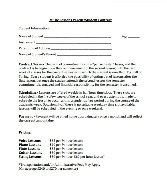 Sublease Contract Template  40+ Professional Sublease Agreement - music contract templates