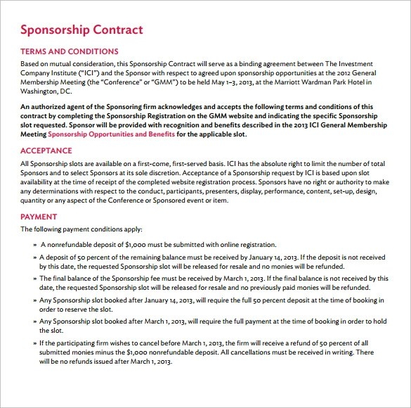 Sponsorship Contract Template Images - Template Design Ideas