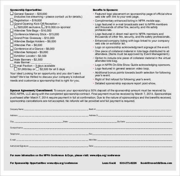 14+ Sponsorship Contract Templates \u2013 Samples, Examples  Format - sponsorship agreement
