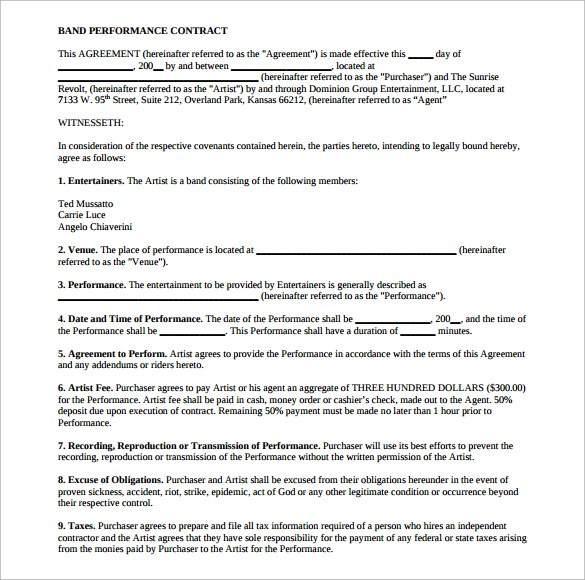 18 Band Contract Templates \u2013 Free Samples, Examples  Format - performance contract templates