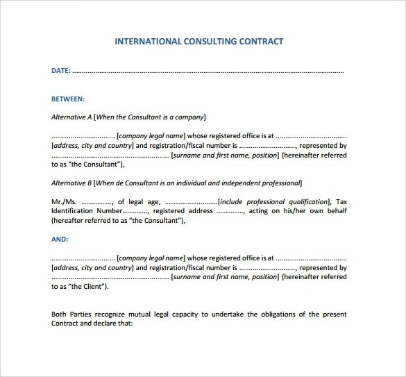 8 Consultant Contract Templates to Download for Free Sample Templates - consulting contract template