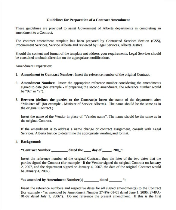 Amendment Of Solicitationmodification Of Contract Sample Contract Amendment Template 8 Free Documents In Pdf