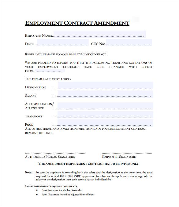 ... Contract Amendment Template Employment Agreement Amendment Form    Investment Contract Template ...