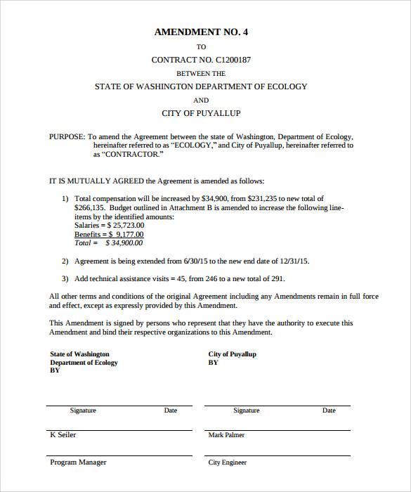 Amendment Document Template
