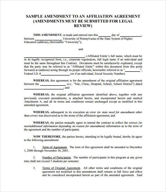 Sample Amendment To An Existing Contract Professional resumes - sample contract amendment template