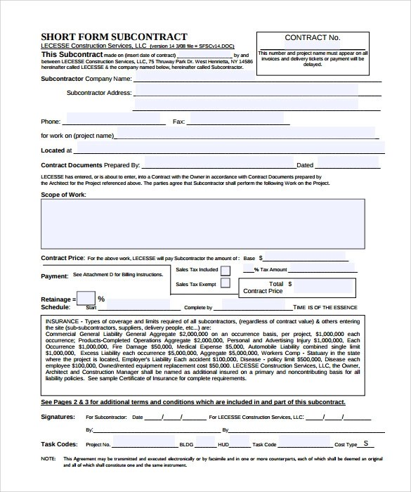 General Conditions Of The Contract For Construction Subcontractor Contract Template 10 Download Documents