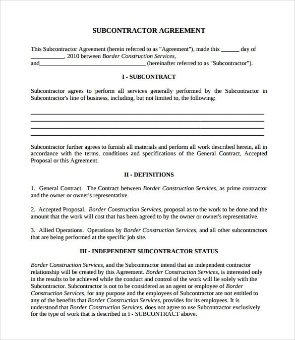 8 Subcontractor Contract Templates to Download for Free Sample - subcontractor agreements