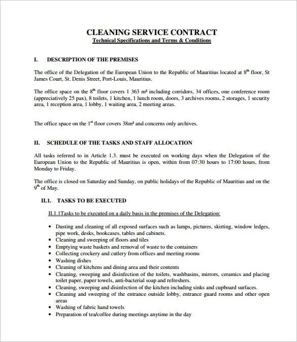 Cleaning Contract Template - 9+ Download Documents in PDF