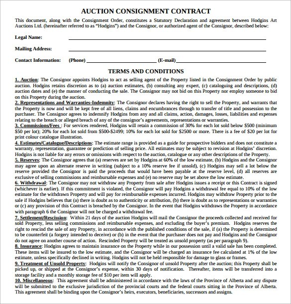 18 Consignment Contract Templates to Download Sample Templates