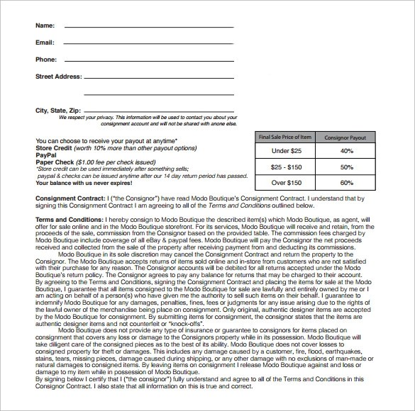 Consignment Contract Template - 17+ Download Documents in PDF, Word