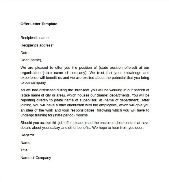 12 Sample Offer Letter Templates \u2013 Free , Examples  Format Sample