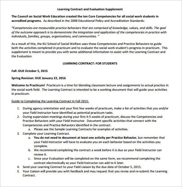 15 Learning Contract Templates to Download for Free Sample Templates - Student Contract Templates