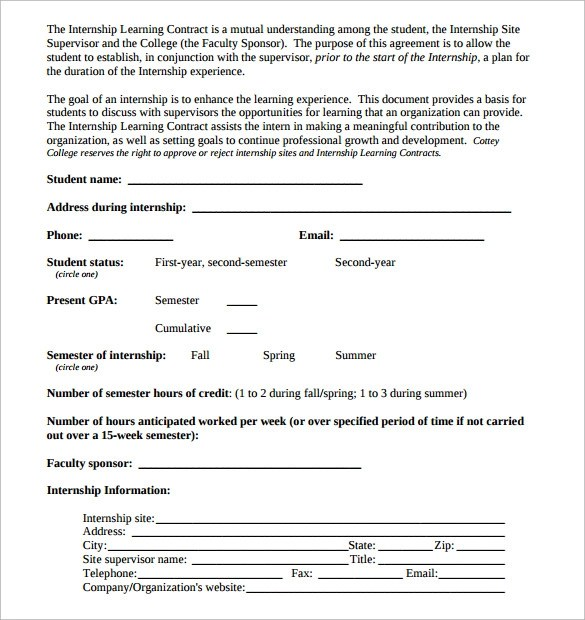 Academic Contract Template  NinjaTurtletechrepairsCo