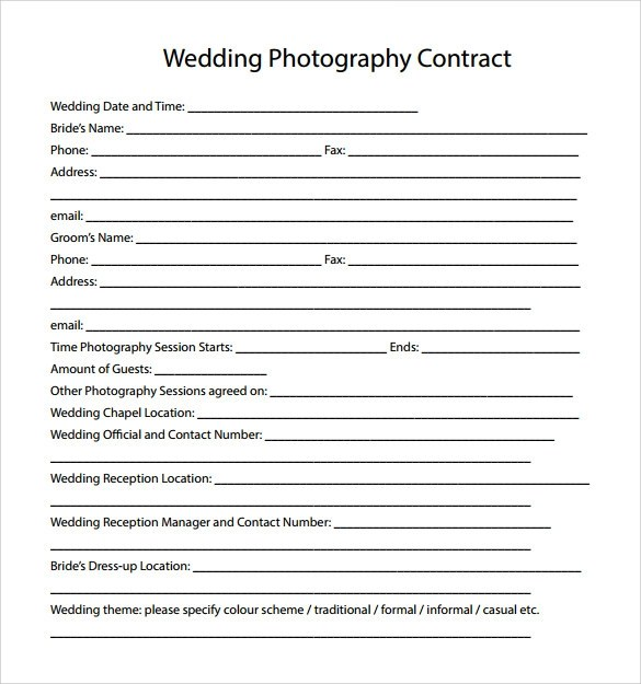 Wedding Photography Contract Template - 14+ Download Free Documents