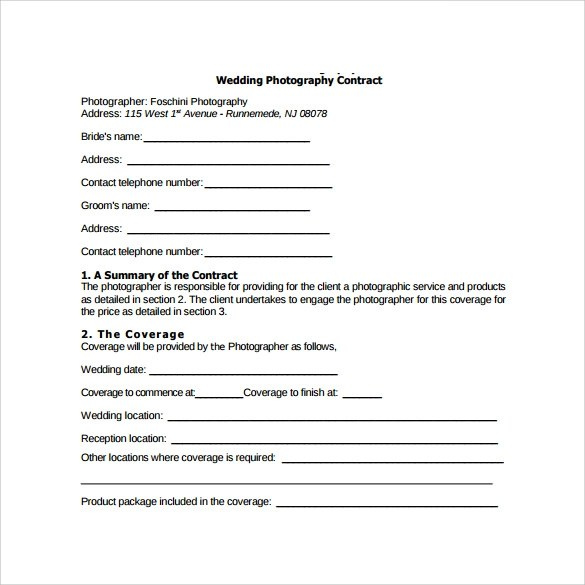 Wedding Contract Templates - photography services contract