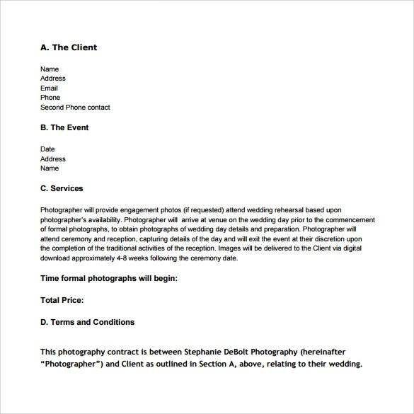 Wedding Contract Templates - photography contracts