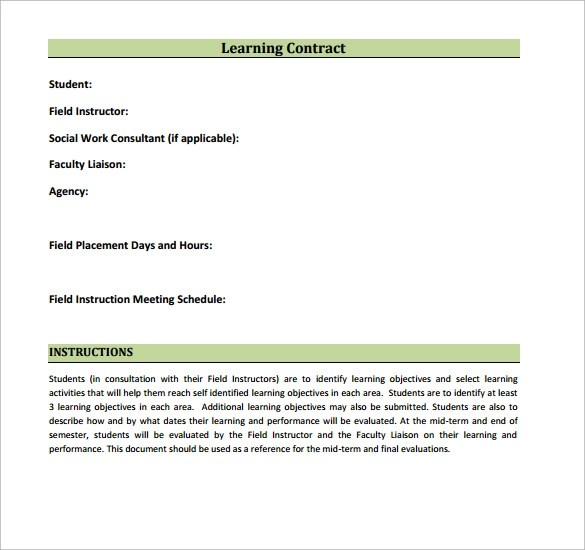 Learning Contract Template - 14+ Download Free Documents in PDF, Word
