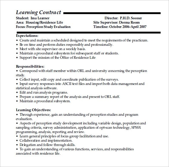 Example Contract For Sale Of House – Learning Contract Template
