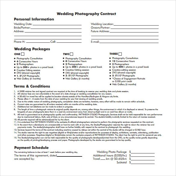 wedding photography contract template free wedding photography - photography contract template