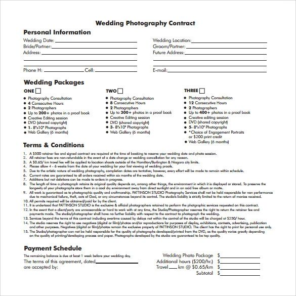 free photography contract templates