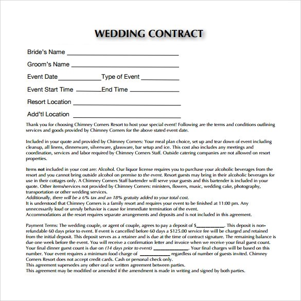 Wedding Contract Template - 19+ Download Free Documents in PDF, Word - wedding contract template