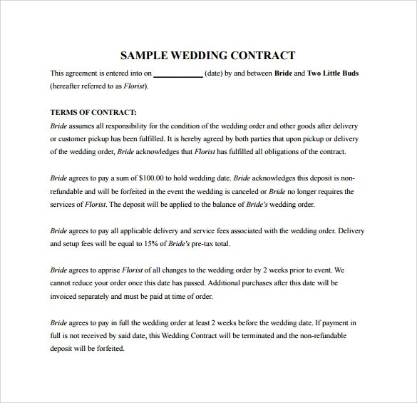 Wedding Contract Template - 23+ Download Documents in PDF, Word