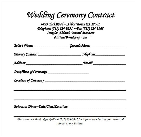 20 Wedding Contract Templates to Download for Free Sample Templates