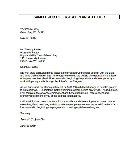 acceptance for job offer