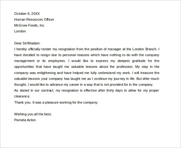 Resignation Letter Format For Bank Employee  Job Application