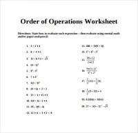 12+ Sample Order of Operations Worksheets   Sample Templates