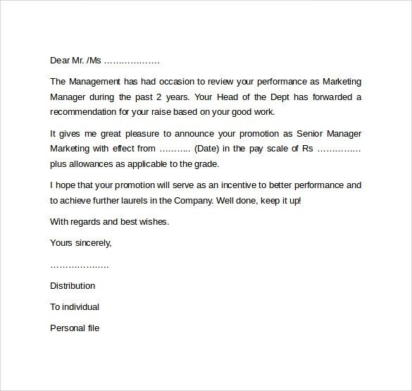 Promotion Letter. Letter Of Intent For A Promotion Letter-Of