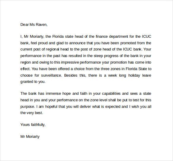 employee promotion letter sample