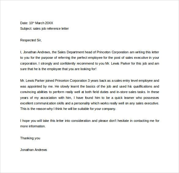 letters of recommendation for work