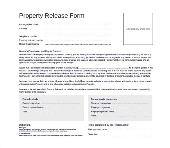 Photographer Release Forms  NodeCvresumePaasproviderCom