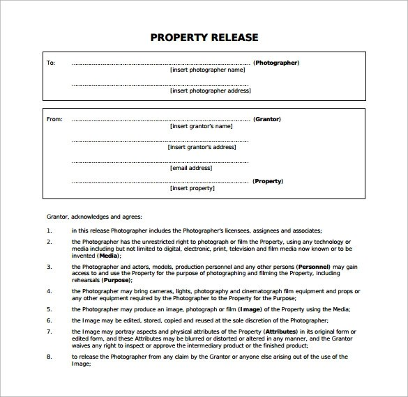 15 Property Release Forms to Download for Free Sample Templates - property release form