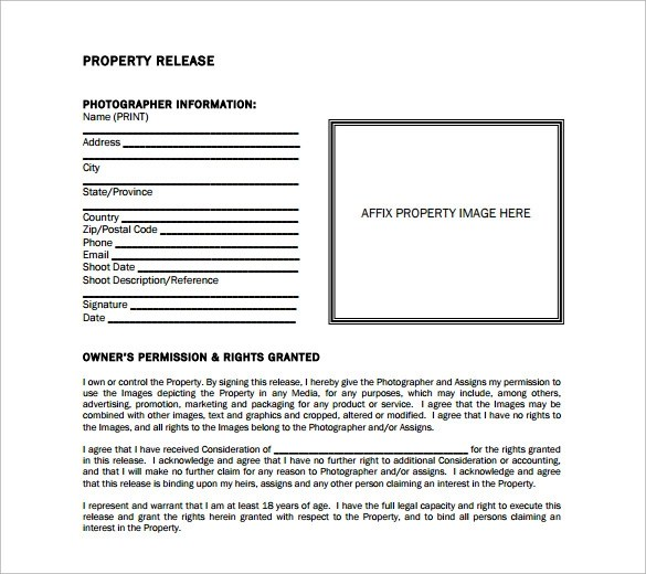 Sample Property Release Form - 14+ Download Free Documents in PDF, Word - release of interest form