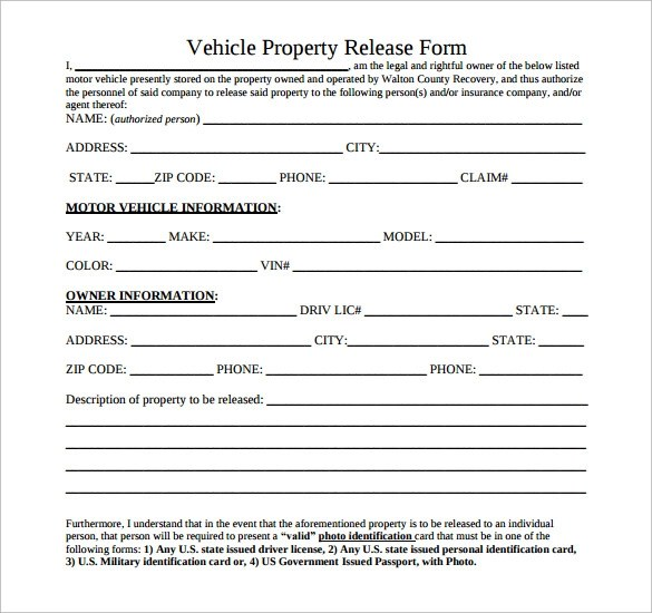 Superior ... Sample Property Release Form   14+ Download Free Documents In PDF   Vehicle  Release Form ...