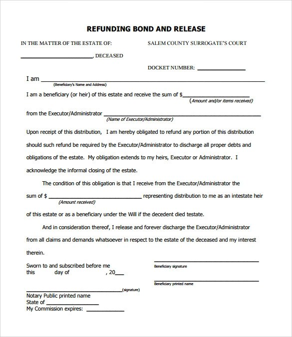 13 Bond Release Form Templates to Download for Free Sample Templates