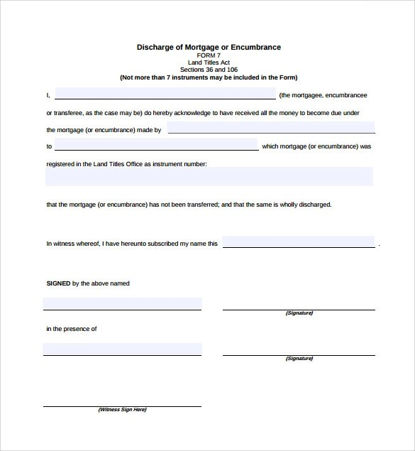 10 Release of Mortgage Form Templates to Download Sample Templates - bond release form